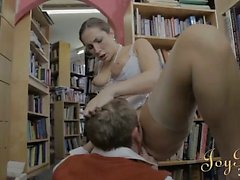 Busty librarian beauty fingered intense and fucked