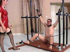 Pain mistress has him hooked up so she can kick his ball sa