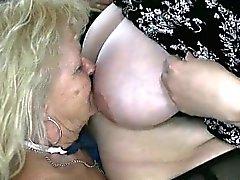 Blonde granny loves having lesbian sex part1