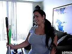 Big ass busty Cuban maid Destiny gets fucked