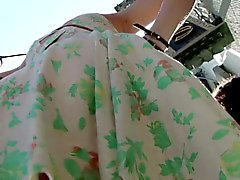 Flower dress upskirts