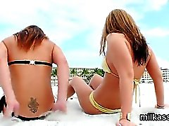 Wicked lesbians fill up their huge bootys with cream and squ