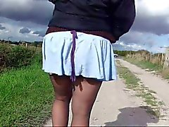 Wife's crotchless tights and panties by road