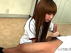 Sweet asian school doll blowing her teachers horny cock