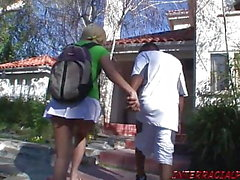 Schoolgirl gets a huge black dick pussy stuffing