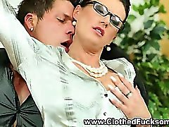 Clothed euro office threesome suck
