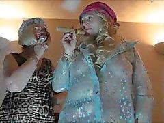 velho fumador uk-collants pvc as luvas gays lésbicas