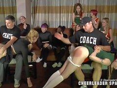 Good looking teen cheerleader sluts get spanked by mature guys