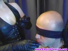 Two FEMDOM british overpower weak sub and jerk his cock