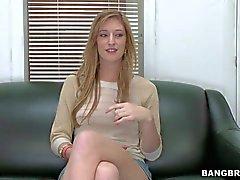 Amateur brunette babe in short skirt has arousing interview