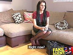 FakeAgentUK Creampie casting for part time lap dancer