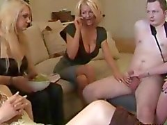CFNM milfs tugging on his hard little cock