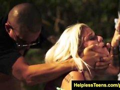 helplessteens Halle Von Must Endure Outdoor Bondage Sex for a Ride