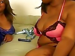 Pussy playing fatty ebony lesbian whores and their toys