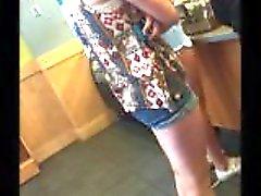 Skinny Blonde in Short Shorts