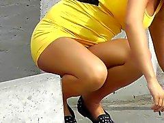 Cigarette glasses panties under her skirt