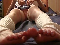Sissy masturbates after school, Feet close up