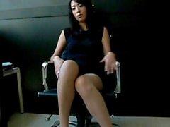Asian woman nylon feet tease