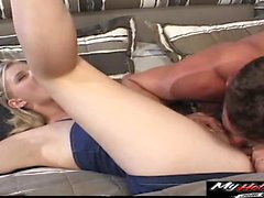 Blonde Hannah Harper gets her pussy pounded by her guys...