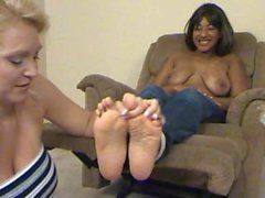 Busty Ebony Bombshell Topless and Foot-Tickled