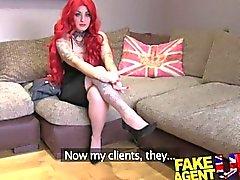 FakeAgentUK Casting couch amateur gets creampied against desk