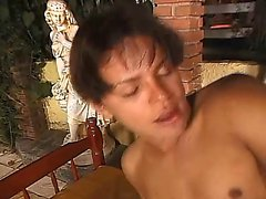 Beautiful stud Junior invites a buxom black tranny to punish his ass