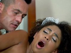 TeamSkeet - Hot Latina Fucks in Silk Black Maid Outfit