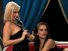 A Sexy Blonde and Brunette Have Sex with Each Other While He Watches