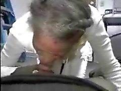 Black grey head granny gave head on the floor