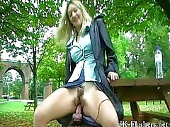 Milfs giant dildo masturbation in public