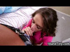99 Pounds Teen Gags on 10 inch Cock!