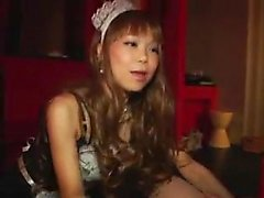 Hot Asian maid nibbles on a masked man's ass and gives him