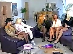 Five girls playing and fisting
