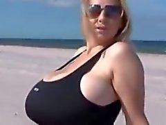 Big Tits On Beach