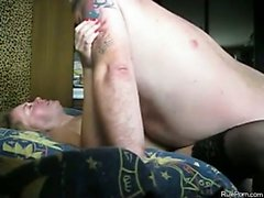 Mature woman with black lingerie gets fucked by her fat man