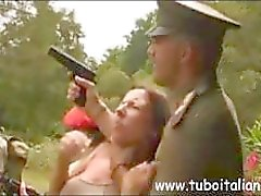 Sexy Italian redhead MILF is getting drilled by military man