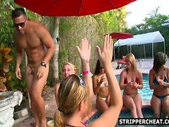 Male stripper heating up the pool