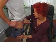 redhead milf in her office