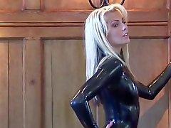 Natasha Black Latex Sleeved Catsuit