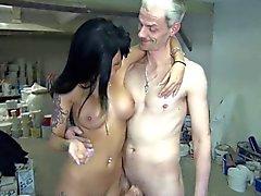 German Latina with fake tits fucks art teacher