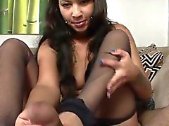 Latina stepteen cock rub with feet