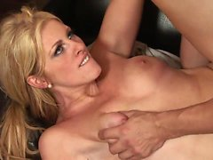 Horny hunk licks blondes nipples while pounding her