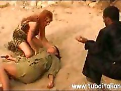 Awesome queen bee with an inviting ham wallet humps some soldiers