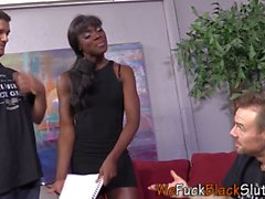 Ebony teen rides in 3way