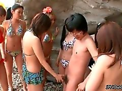 Horny group of Japanese girl sucking part3