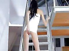 thin Jasmin girl dildoing on the stair