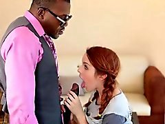 Cutie redhead teen Amanda Miller railed by big black cock