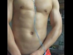 Chinese straight young hunk having handjob