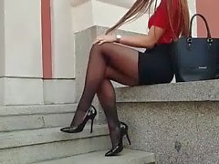 babe in black pantyhose