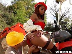 Sexy Latina Katia outdoor anal sex at construction site